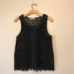 Hinge black embroidered blouse / top sleeveless